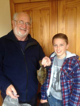 Geoff and Jordan with flatfish